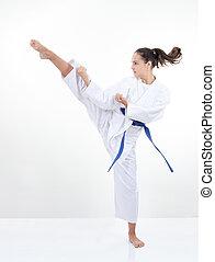 magas, megrúg, rúgás, leány, alatt, karategi