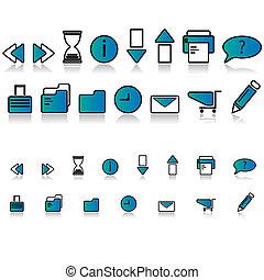 magas, minőség, szövedék icons