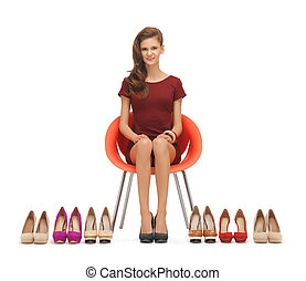 magas, nő, sarkú, cipők