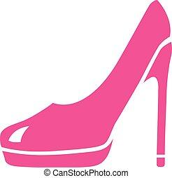 magas sarkú cipő, emelvény