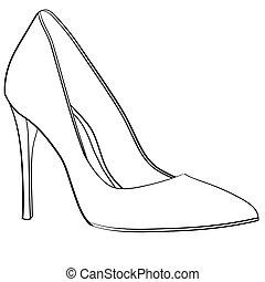 magas sarkú cipő, nő, elszigetelt, ábra