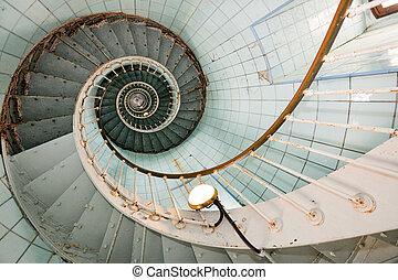 magas, világítótorony, lépcsősor