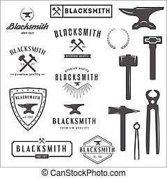 magasin, éléments, collection, logotypes, forgeron, logo