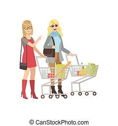 magasin, épicerie commerciale, deux, petites amies