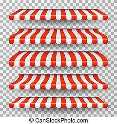 magasin, épicerie, ensemble, restaurant, awning., blanc, isolé, roofs., fenêtre, vecteur, rouges, marché, rayé, canopy., magasin, tente