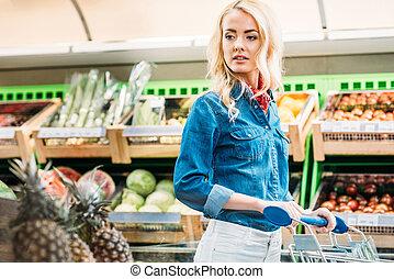 magasin, épicerie, femme