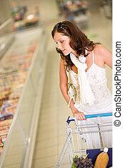 magasin épicerie, -, jeune femme, achats