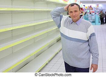 magasin, étagères, personnes agées, nuque, grattements, vide, homme