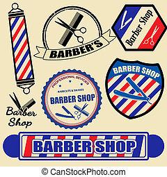 magasin, étiquettes, ensemble, coiffeur, timbres