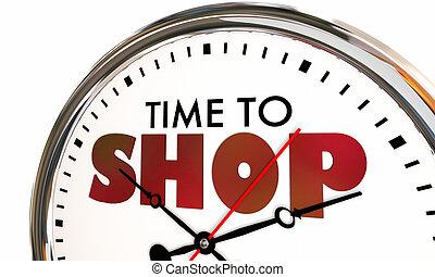 magasin, 3d, horloge, temps, coutil, illustration, achat, achat