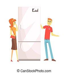 magasin, achats femme, aide, aide, conjugal, frigidaire, équipement, objets, choisir, département, maison, électronique, magasin