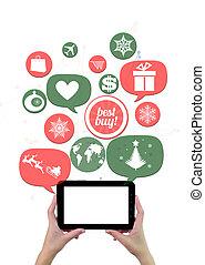 magasin, achats, hiver, business, ou, ligne, vacances,...