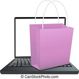magasin, achats, ordinateur portable, ligne, sac, clavier