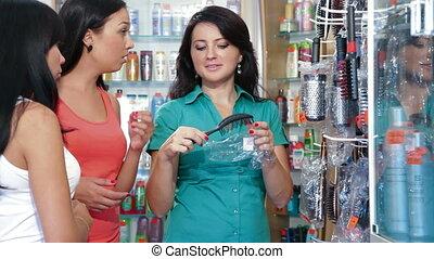 magasin, achats, produits de beauté, femmes