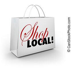 magasin, achats, soutien, communauté, sac, mots, local