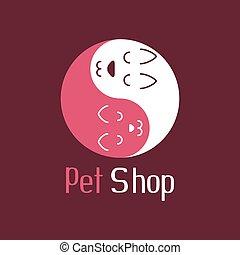 magasin, aimer, chouchou, yang yin, chien, chat, logo