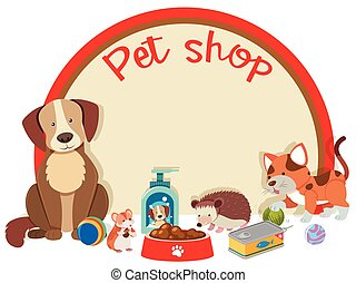 magasin, animaux familiers, chouchou, beaucoup, signe, gabarit