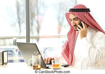 magasin, arabe, café, fonctionnement, homme