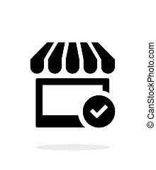 magasin, arrière-plan., blanc, chèque, icône