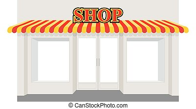 magasin, awning., bâtiment., storefront, façade, showcase., rayé, magasin