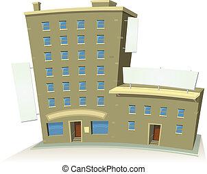 magasin, bâtiment, bannières, dessin animé, appartements