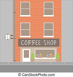magasin, bâtiment, café