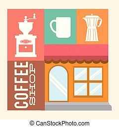 magasin, bâtiment, café, image, magasin