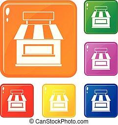 magasin, bâtiment, ensemble, icônes, couleur, vecteur, façade
