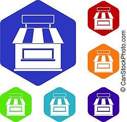 magasin, bâtiment, ensemble, icônes, façade, hexagone