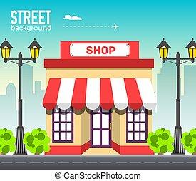 magasin, bâtiment, syle, plat, concept., illustration espace, vecteur, conception, fond, route ville
