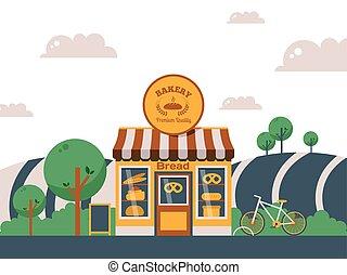 magasin, bakeshop, bakehouse., paysage, campagne, été,...