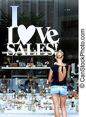 magasin, banners., fenêtre, vente