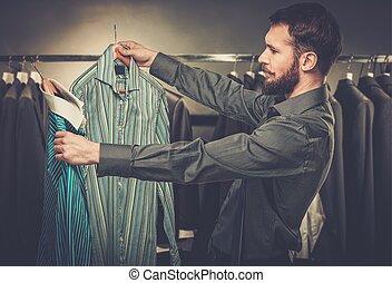 magasin, beau, chemise, choisir, homme, barbe