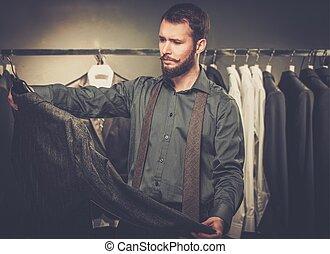 magasin, beau, veste, choisir, barbe, homme