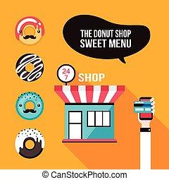 magasin, beignet, nourriture, dessert, icônes, commander, délicieux, façade, café