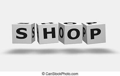 magasin, blanc, cubes, mot