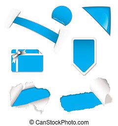 magasin, bleu, éléments, vente