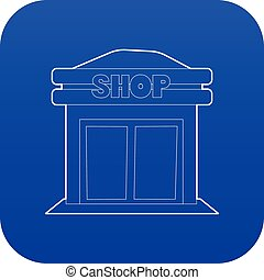 magasin, bleu, vecteur, icône
