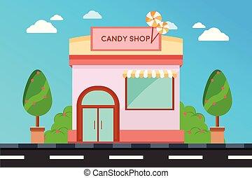 magasin, bonbon, façade, magasin, moderne, extérieur, illustration, bâtiment., bâtiments