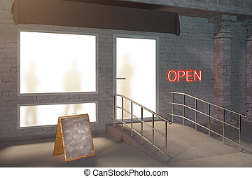 magasin, côté, extérieur