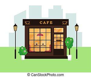 magasin, café, bâtiment., exterior., café