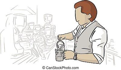 magasin, café, barista, fonctionnement, lignes, isolé, illustration, arrière-plan., vecteur, noir, blanc mâle