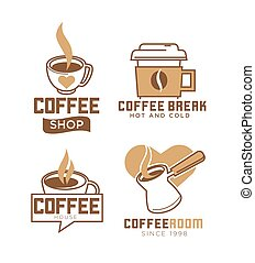 magasin, café, boissons, emblèmes, chaud, froid