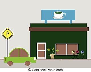 magasin, café, café, ou, magasin