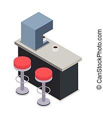 magasin, café, chaises, compteur, isolé, rouges