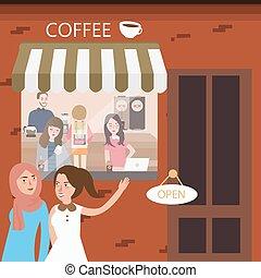 magasin, café, coin préféré, restaurant, réunion, amis