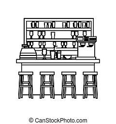 magasin, café, conception, isolé