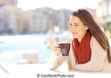 magasin, café, femme, boire, décontracté