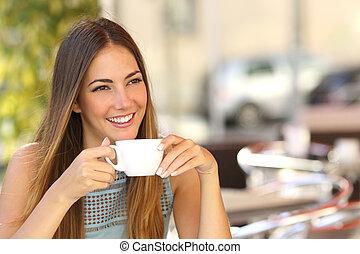 magasin, café, femme, songeur, pensée, terrasse