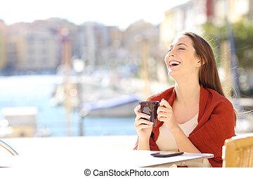 magasin, café, femme, temps libre, apprécier, heureux